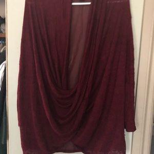 Seductions burgundy long sleeve top